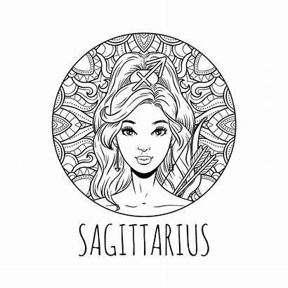 Zodiac Coloring Sagittarius Signs Printable Horoscope Het