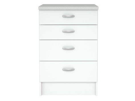 meuble cuisine avec tiroir elément bas cuisine 4 tiroirs l 49 5 cm casa coloris blanc