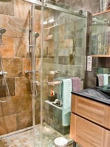 salle de bain en carrelage imitation pierre emilie orsero With carrelage salle de bain imitation pierre