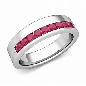 channel set comfort fit ruby wedding ring in 18k white gold With ruby wedding ring set