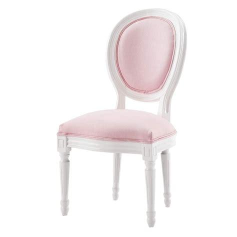 chaise medaillon enfant en bois blanche  rose louis maisons du monde