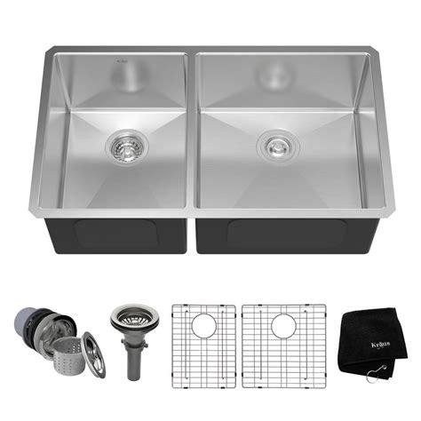 33 undermount kitchen sink kraus undermount stainless steel 33 in 60 40 double bowl