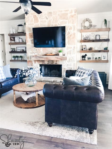 shiplap   fireplace easy room update shanty  chic
