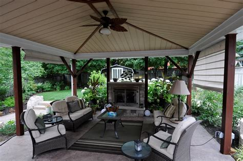 covered patio with fireplace landscaping ideas toronto landscaping network