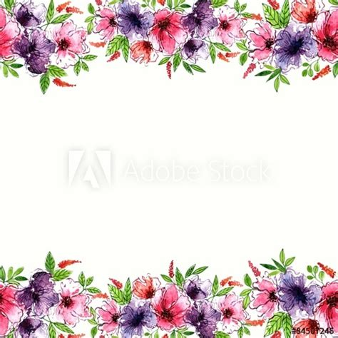 floral background watercolor floral border birthday