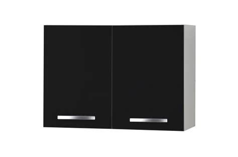 element haut de cuisine 224 portes noir meuble de rangement pas cher