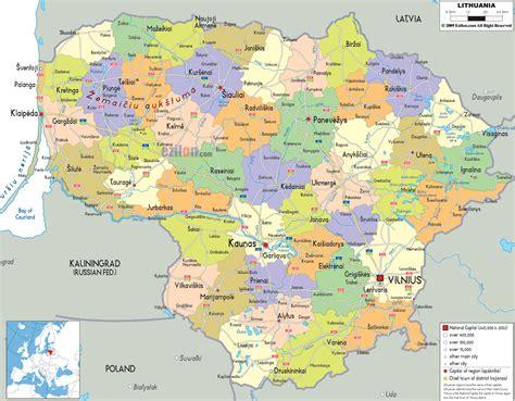 Political Map of Lithuania - Ezilon Maps