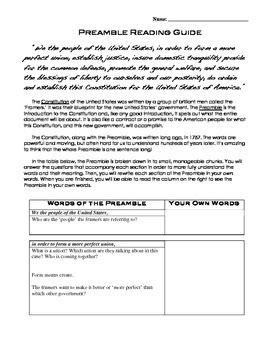 Preamble Worksheet Resultinfos