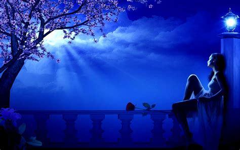 blue moon spring night girl dreamer blossoming tree street lamp romantic wallpaper hd
