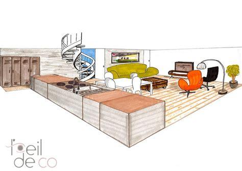 cuisine studio l 39 oeil de co cuisine salon en perspective l 39 oeil de co