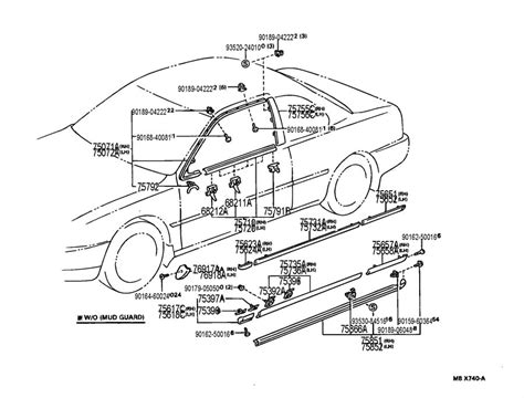 1995 Toyotum Camry Part Diagram by 1994 1996 Toyota Camry Front Left Door Exterior Trim