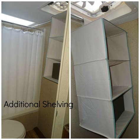 floor to ceiling tension rod closet organizing shelving adding more shelving in the trailer