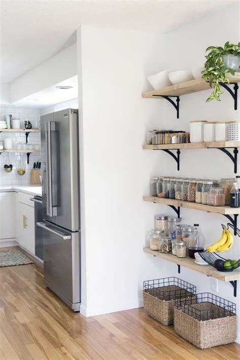 open shelving   corner kitchen wall storage diy