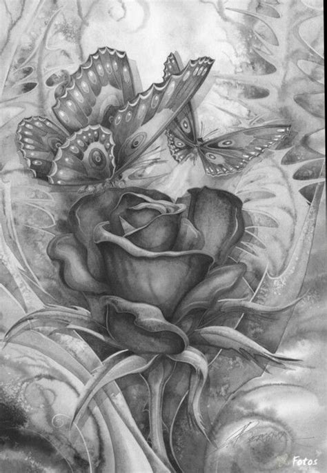 rose butterfly coloring pages colouring adult detailed advanced printable  divonsir borges