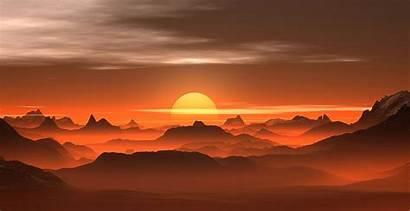 Desert Sunset 4k Landscape Mountains Nature Amber