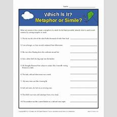 Simile And Metaphor Worksheet  Identifying Similes And Metaphors K12reader