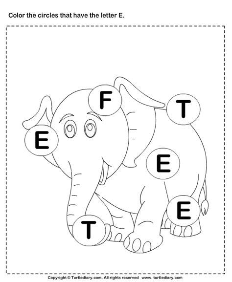 identifying letter e worksheet turtle diary