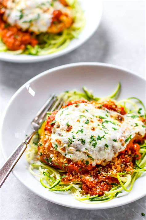 Cover bottom with a layer of pasta, half of the chicken, half of the peas, a ⅓ of the parmesan, a ⅓ water and ⅓ of the sauce. 20 Minute Healthy Chicken Parmesan Recipe - Pinch of Yum