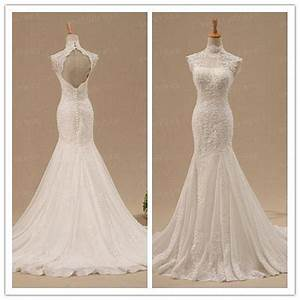 custom lace wedding dress open back bridal gown high With high back wedding dress