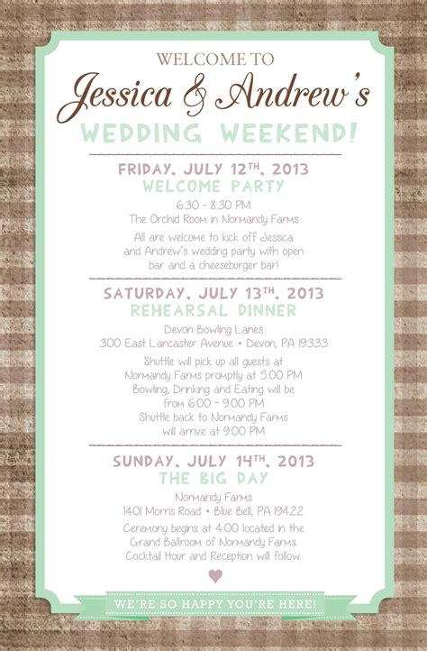 country chic wedding weekend itinerary  paper lace
