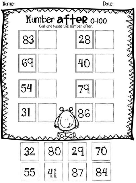 numbers worksheets  kindergarten