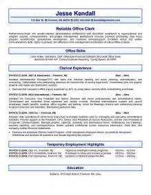 office clerical skills resume exle office clerk resume free sle
