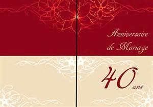 anniversaire de mariage 40 ans carte anniversaire 40 ans 1001 carteanniversaire fr