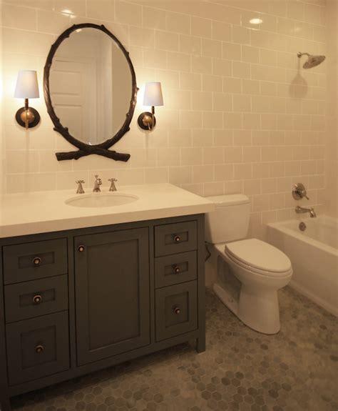 black oval bathroom mirror black oval faux bois mirror transitional bathroom 17412