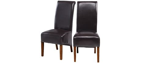 cube bonded leather dining chairs brown pair quercus