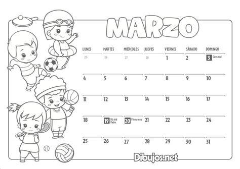 calendario infantil imprimir colorear