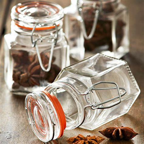 Airtight Spice Containers by Glass Vintage Clip Top Spice Jars Airtight Storage Herbs