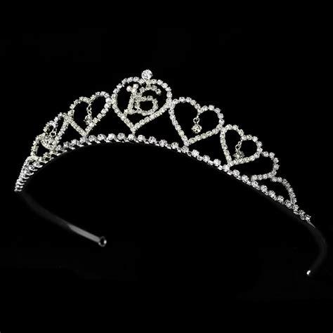 large rhinestone silver covered sweet sparkling sweet 16 tiara covered in clear rhinestones in