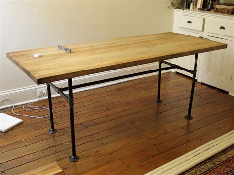 diy industrial dining table marybicycles 3 4 view color salvaged butcher block table