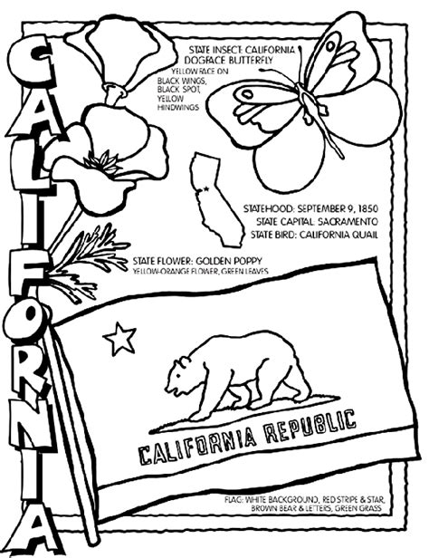 California State Symbols Coloring Pages California Crayola Au