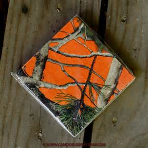 orange camo beverage napkins 16 pack