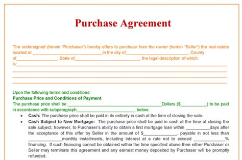 Purchase Agreement Template