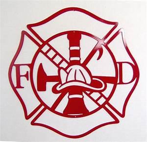 Maltese Cross Firefighter Metal Art Fire Department Indoor