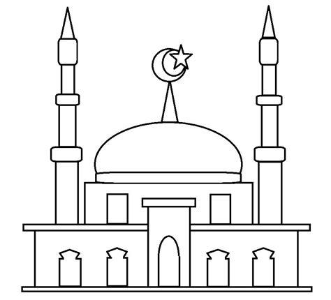 mewarnai gambar masjid anak paud belajarmewarnai info