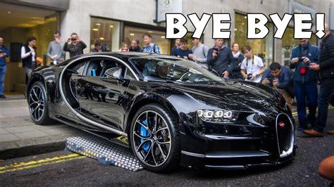 bugatti chiron leaves london dealership revs bumps