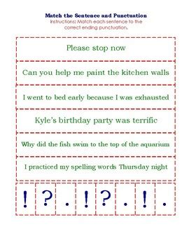 match sentence  punctuation card game
