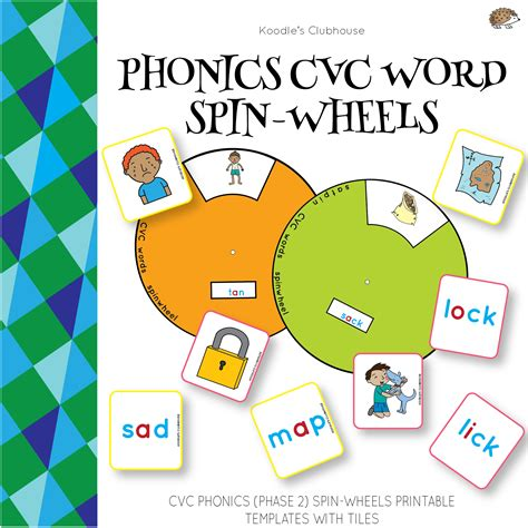 phonics spin wheels cvc words  koodles clubhouse