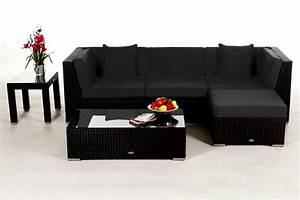Rattan Lounge Schwarz : leonardo lounge in schwarz rattan gartenm bel set f r terrasse garten oder balkon ~ Indierocktalk.com Haus und Dekorationen