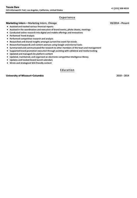 Marketing Intern Resume by Marketing Intern Resume Sle Velvet