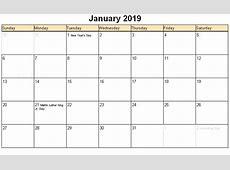January 2019 Calendar Word calendar weekly printable