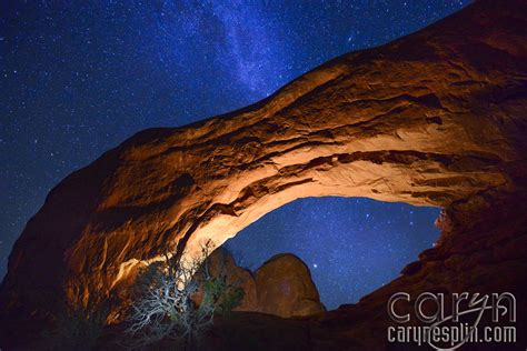 arches national park light painting milky  caryn
