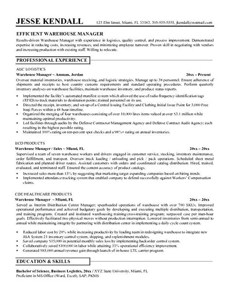 Resume For Warehouse Worker by Resume Sle Warehouse Worker Free Sles Exles