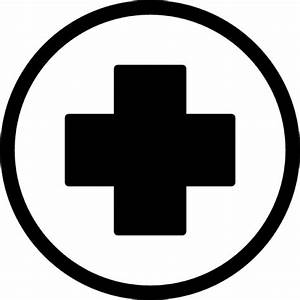 First aid cross in black inside a circle Icons | Free Download