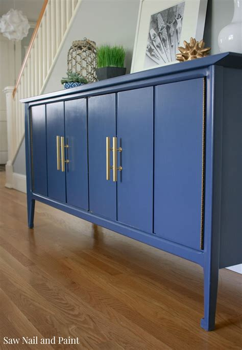 Blue Sideboard by Indigo Blue Mid Century Buffet Saw Nail And Paint