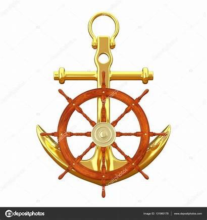 Wheel Ship Steering Golden Anchor Nautical 3d