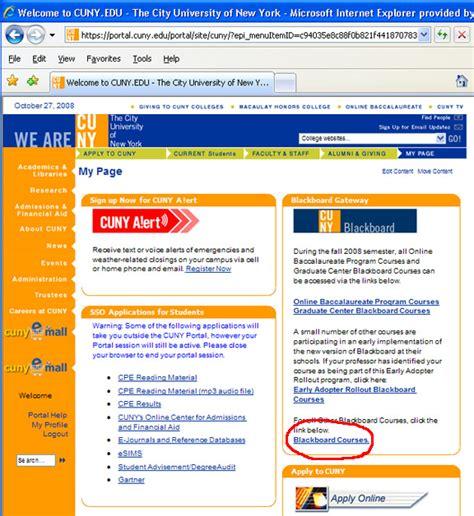 Cuny Portal Help Desk by Access Blackboard Via Cuny Portal Hostos Community College